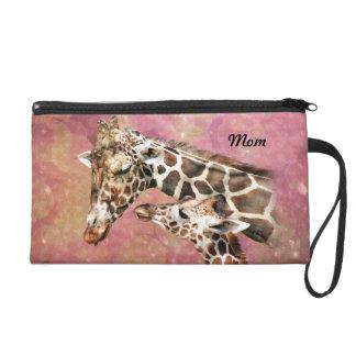 Giraffe Mom and Baby Wristlet Purse