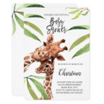 Giraffe Mom & Baby Greenery Eucalyptus Baby Shower Invitation