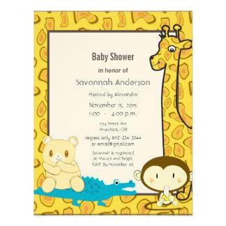 Giraffe Monkey Alligator Baby Boy Shower Invite