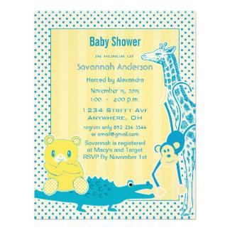 Giraffe Monkey Alligator Baby Teddy Boy Shower Custom Announcements
