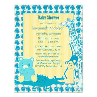 Giraffe Monkey Alligator Baby Teddy Boy Shower Announcement