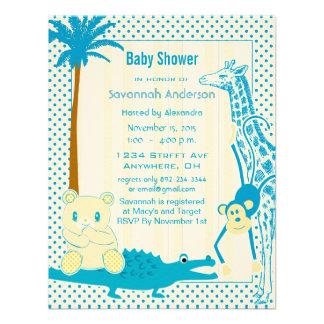 Giraffe Monkey Alligator Baby Teddy Boy Shower Custom Invitation