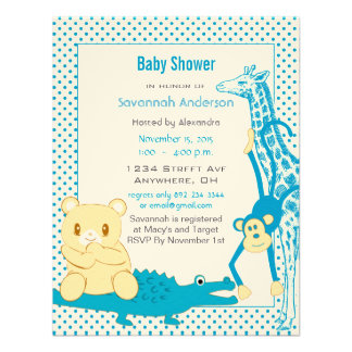 Giraffe Monkey Alligator Baby Teddy Boy Shower Announcements