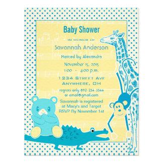 Giraffe Monkey Alligator Baby Teddy Boy Shower Personalized Invites