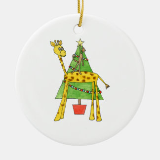 Giraffe Monkey and Christmas Tree Christmas Ornament