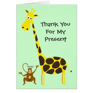 Giraffe Monkey THANK YOU FOR MY PRESENT Kids Stationery Note Card