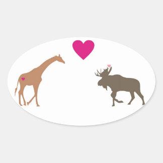 Giraffe Moose Love Oval Sticker small