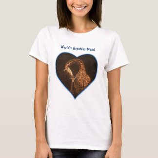 Giraffe Mother and Baby Blue Hearts T-Shirt