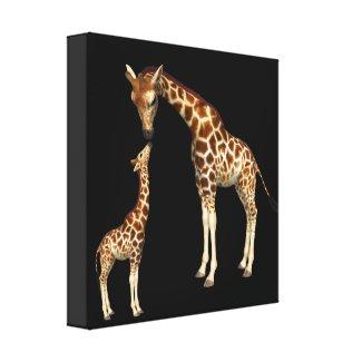 Giraffe Mother and Baby Giraffe Canvas Print