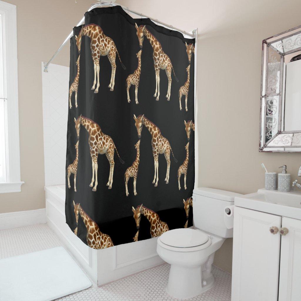 Giraffe Mother and Baby Giraffe Shower Curtain