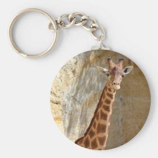 Giraffe near cliff keychain