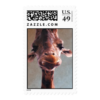 Giraffe Oil Painting Postage Stamp