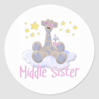Giraffe on a Cloud Middle Sister Classic Round Sticker
