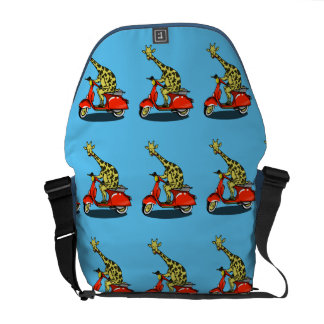 Giraffe on a red moped courier bag