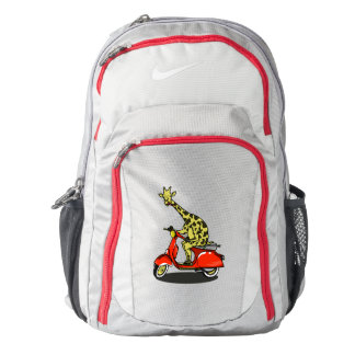 Giraffe on a red retro moped backpack