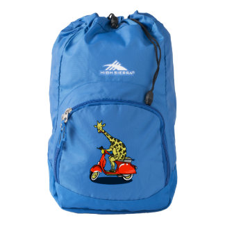 Giraffe on a red retro moped high sierra backpack