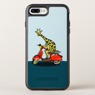 Giraffe on a red retro moped OtterBox symmetry iPhone 7 plus case