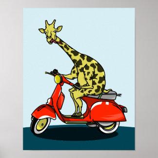 Giraffe on a retro moped poster