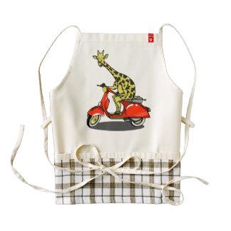 Giraffe on a retro moped zazzle HEART apron