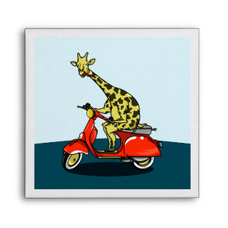 giraffe on a vintage scooter envelope