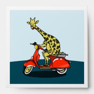 giraffe on a vintage scooter envelope
