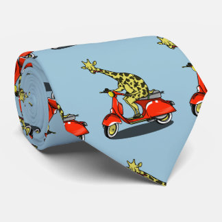 giraffe on a vintage scooter neck tie