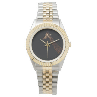 Giraffe_On_Black_Ladies_Unisex_Two_Toned_Watch Relojes