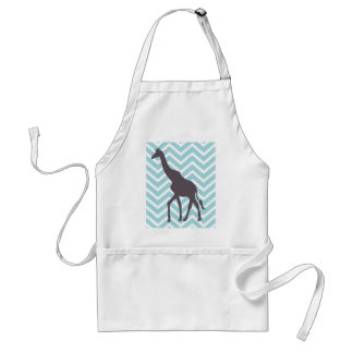 Giraffe on Chevron Zigzag - Blue and White Adult Apron