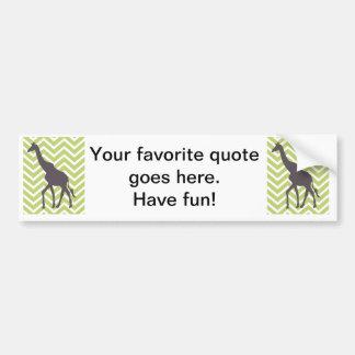Giraffe on Chevron Zigzag - Green and White Bumper Sticker