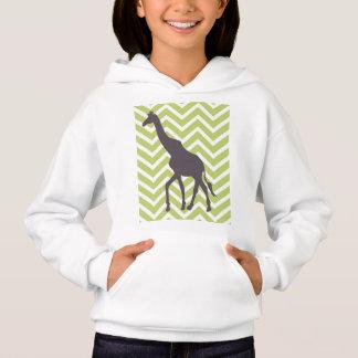 Giraffe on Chevron Zigzag - Green and White Hoodie