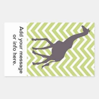 Giraffe on Chevron Zigzag - Green and White Rectangular Sticker