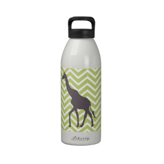 Giraffe on Chevron Zigzag - Green and White Water Bottles