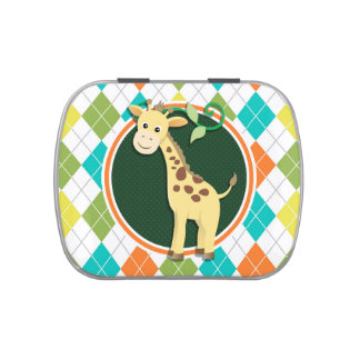 Giraffe on Colorful Argyle Pattern Candy Tins
