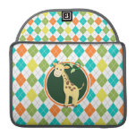 Giraffe on Colorful Argyle Pattern Sleeves For MacBook Pro