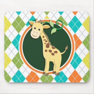 Giraffe on Colorful Argyle Pattern Mouse Pad
