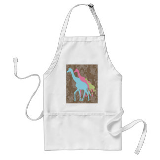 Giraffe on Damask Floral - Pink, Blue and Green Apron