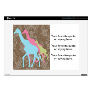 Giraffe on Damask Floral - Pink Blue and Green Decals For Laptops