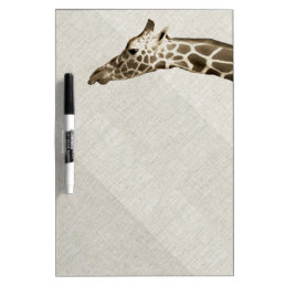 Giraffe on Linen Look Dry Erase Board
