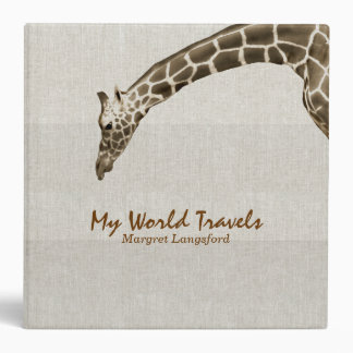 Giraffe on Linen Look Travel Photo Album Custom Binder