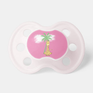 Giraffe on pink baby girl pacifier