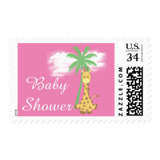 Giraffe on pink baby shower postcard stamps