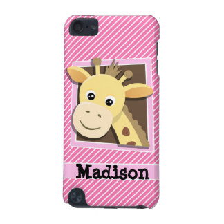 Giraffe on Pink & White Stripes iPod Touch (5th Generation) Covers