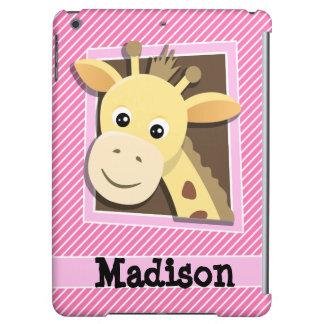 Giraffe on Pink & White Stripes iPad Air Cover