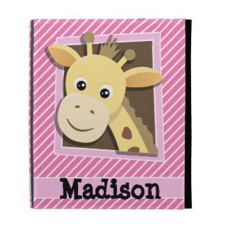 Giraffe on Pink & White Stripes iPad Folio Cover