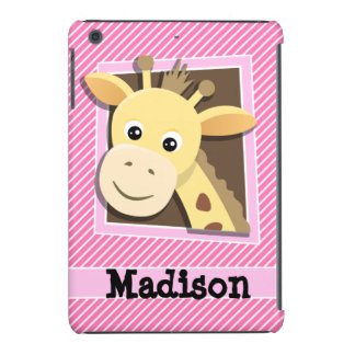 Giraffe on Pink & White Stripes iPad Mini Retina Case