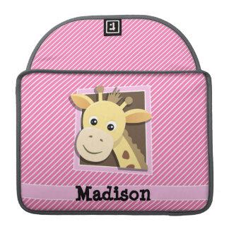 Giraffe on Pink & White Stripes MacBook Pro Sleeve