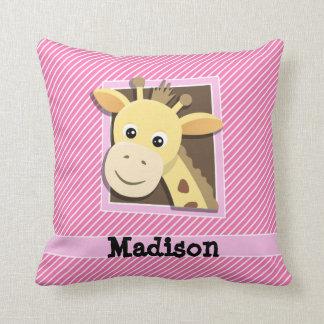 Giraffe on Pink & White Stripes Pillow
