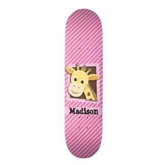 Giraffe on Pink & White Stripes Skateboard Deck