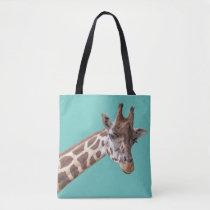 Giraffe on Teal Green Tote Bag