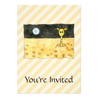 Giraffe on the Moon. Custom Invitation